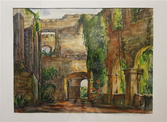 "Mission Ruins, Rosenbaum, 16"" x 20,"" water color"