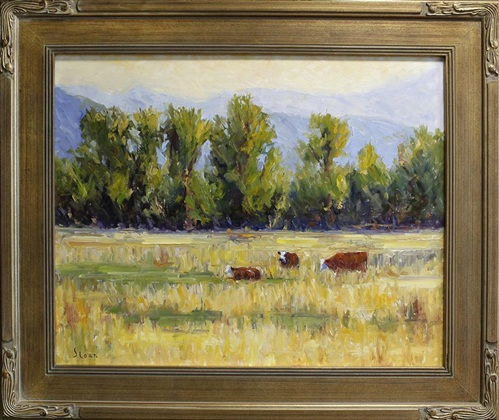 "Cattle Grazing, Jack Sloan, 24"" x 30,"" oil on board, 2004"