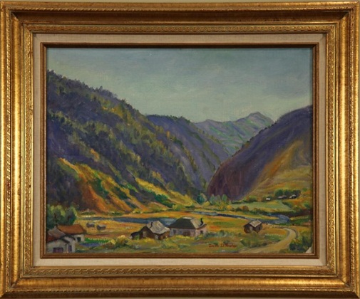 "Frying Pan Canyon, Irene Fowler, c. 1920, 14"" x 18,"" oil on board"