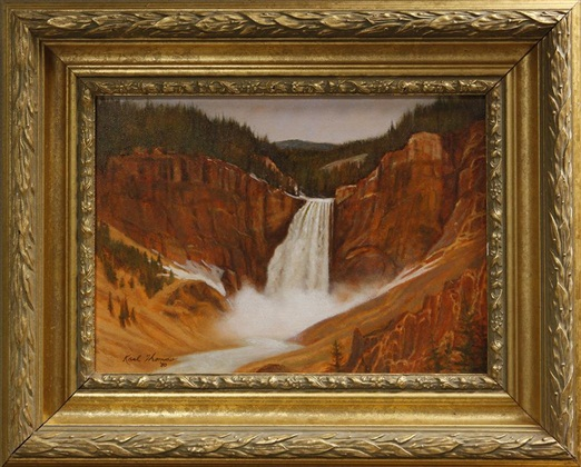 "Yellowstone Falls, Kent Thomas, 10"" x 14,"" oil on board, 1980"