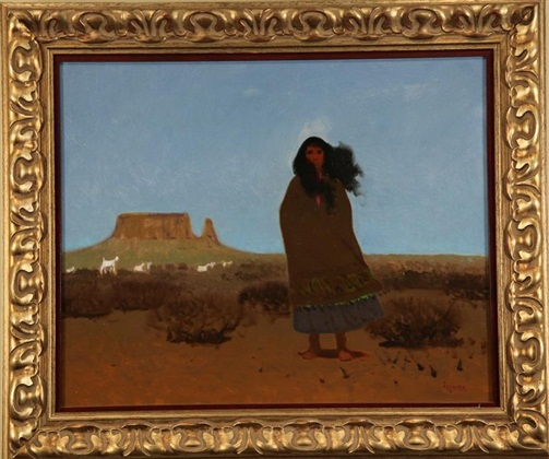 "Navajo, Forester, 24"" x 36,"" oil on board, 1996"