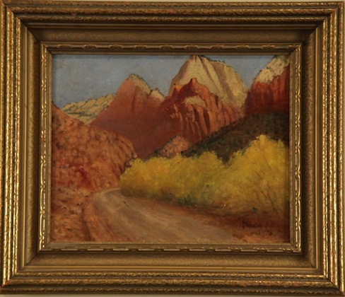 "Road to Zions, JB Fairbanks, 8"" x 12,"" oil on board, 1928"