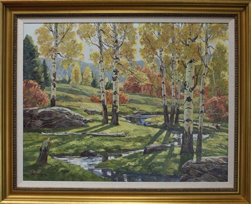 "Autumn Stream, Paul Salisbury, 28"" x 36,"" oil on canvas, 1953"