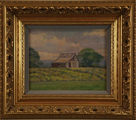 "Liberty Barn,  LeConte Steward, 8"" x 10,"" oil on board, 1968"