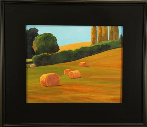 "Hay Bales, Tom Mulder, 16"" x 20,"" oil on canvas"